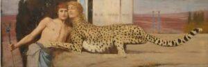 Schilderij man en luipaard met menselijk hoofd