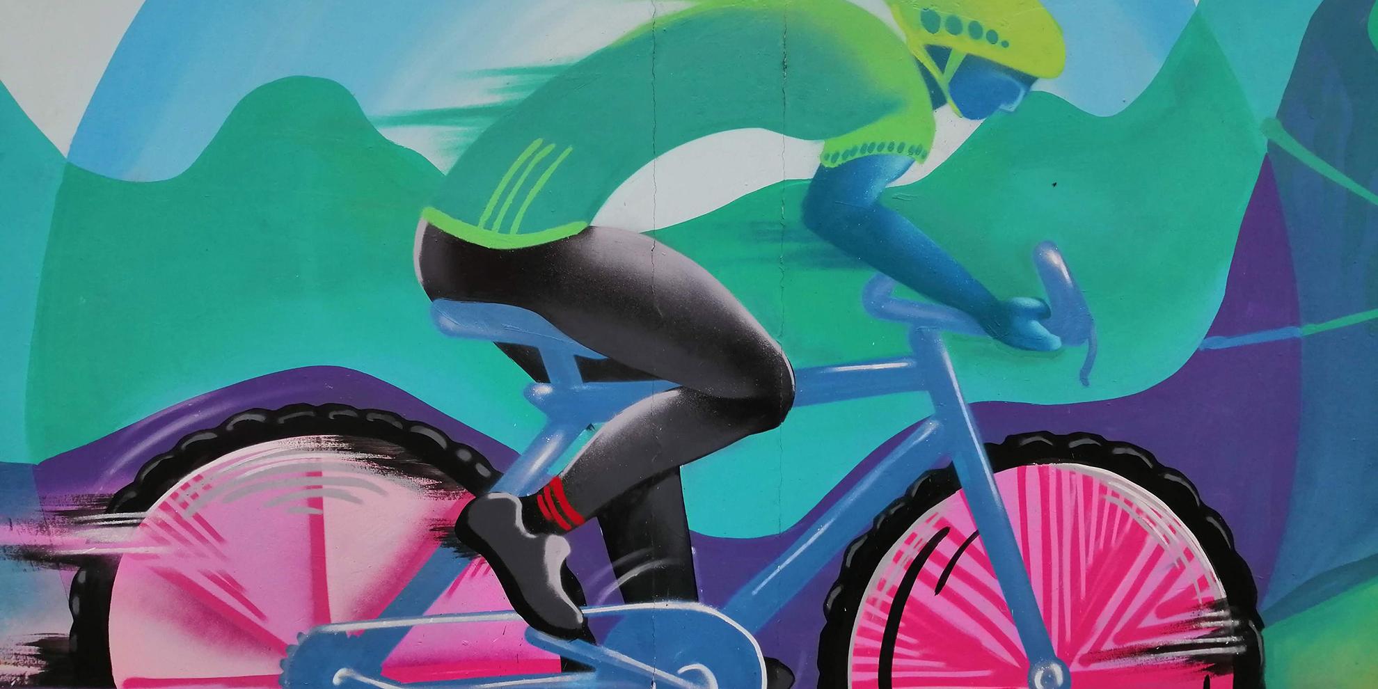 visual fietser op schilderij