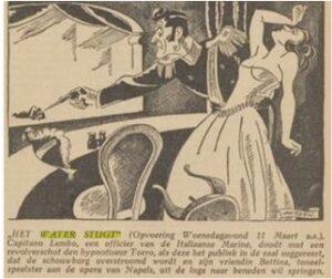 Cartoon uit krant man schiet iemand neer